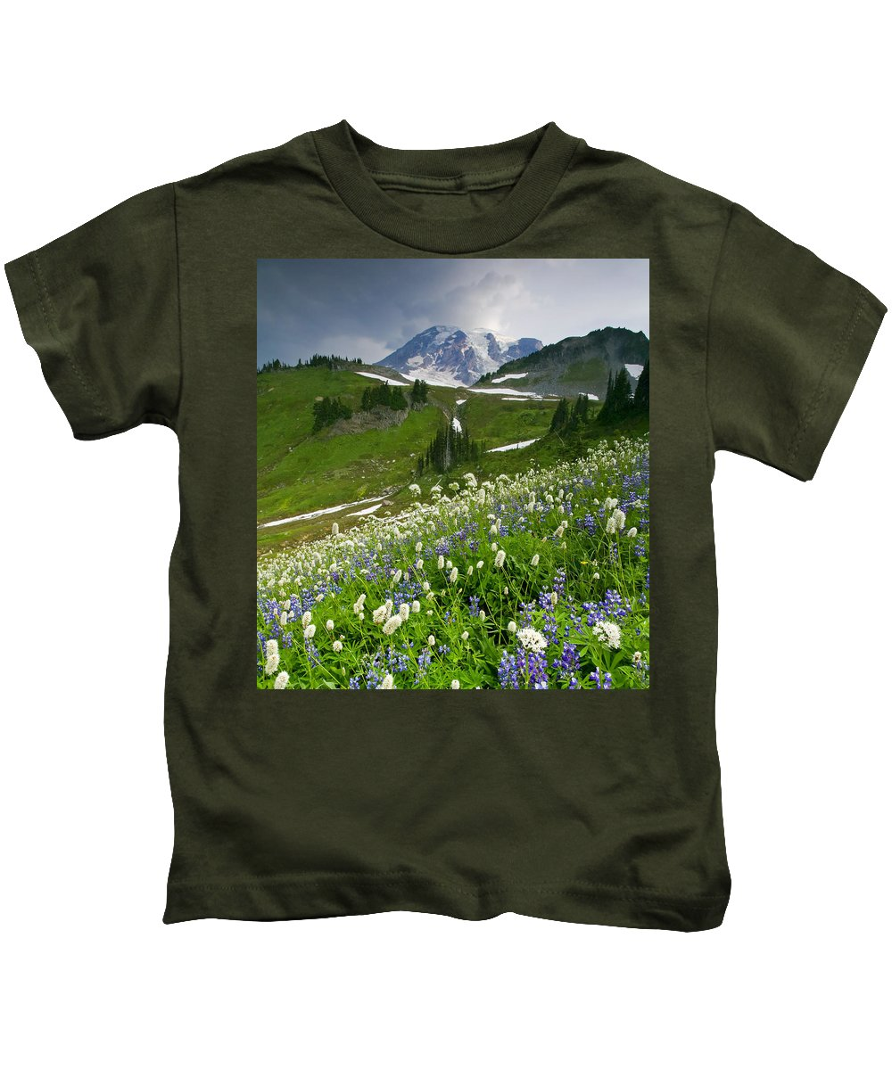 Rainier Kids T-Shirt featuring the photograph Lupine Storm by Mike Dawson