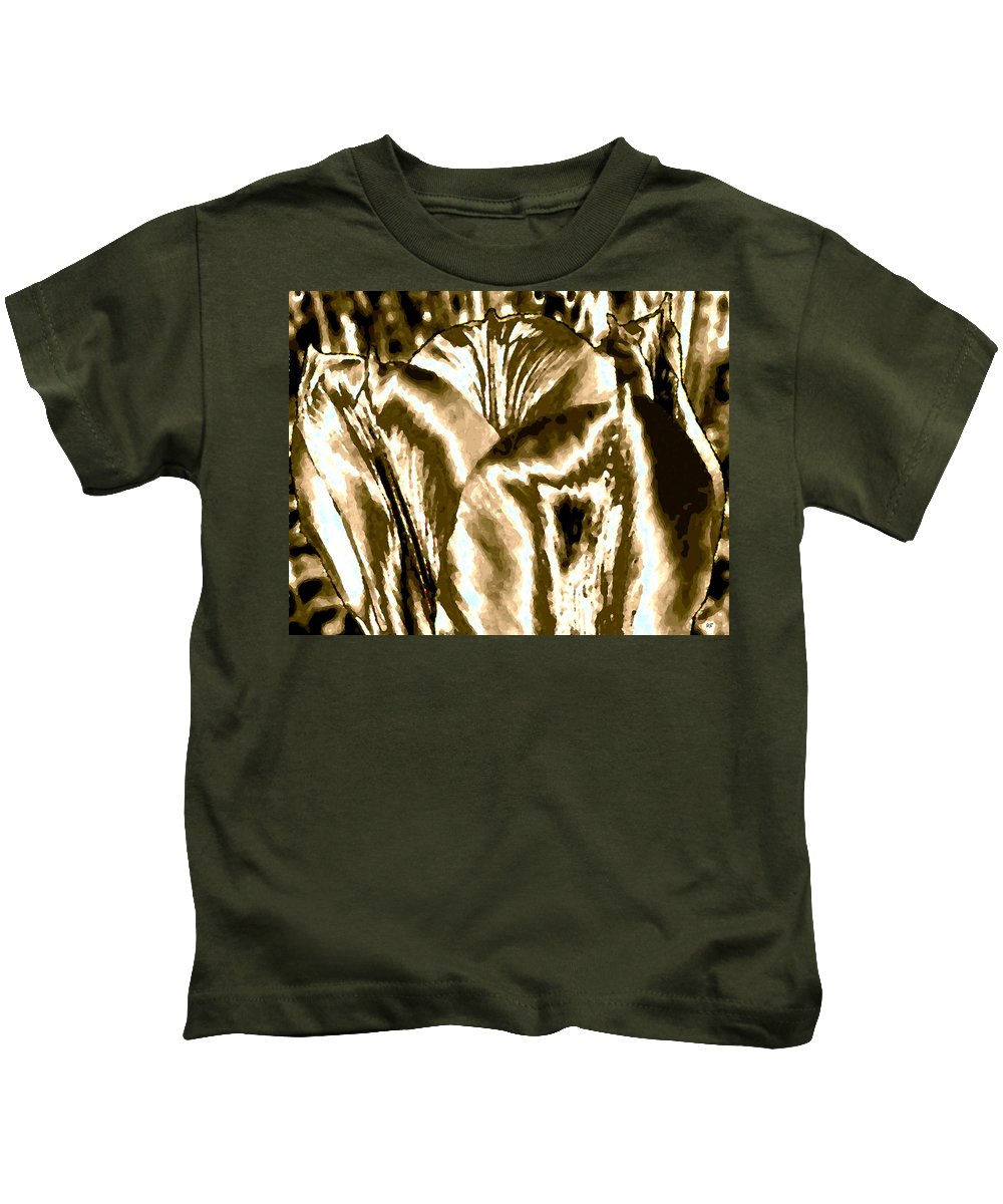Abstract Kids T-Shirt featuring the digital art Lustrous Golden Tulip by Will Borden