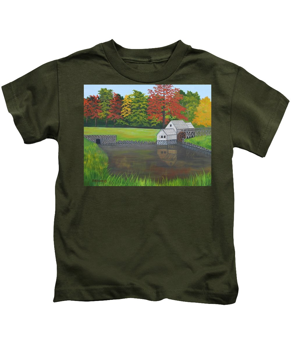 Landscape Kids T-Shirt featuring the painting Mabry Grist Mill by Ruth Housley