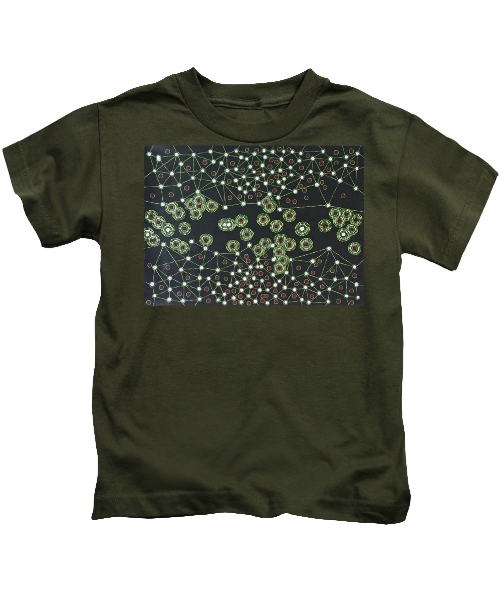 Abstract Kids T-Shirt featuring the painting Macrophage by Roger Knox