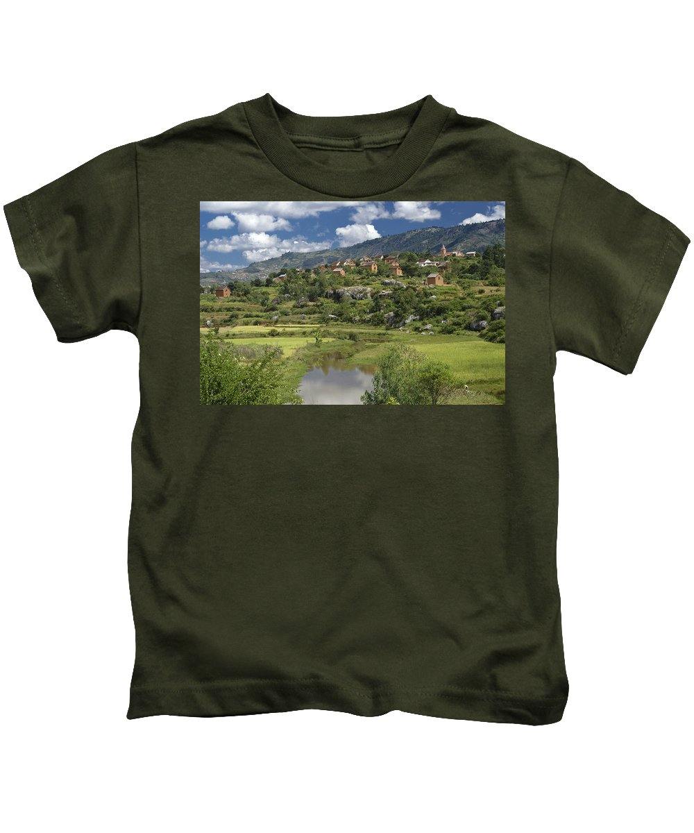 Madagascar Kids T-Shirt featuring the photograph Madagascar Village by Michele Burgess