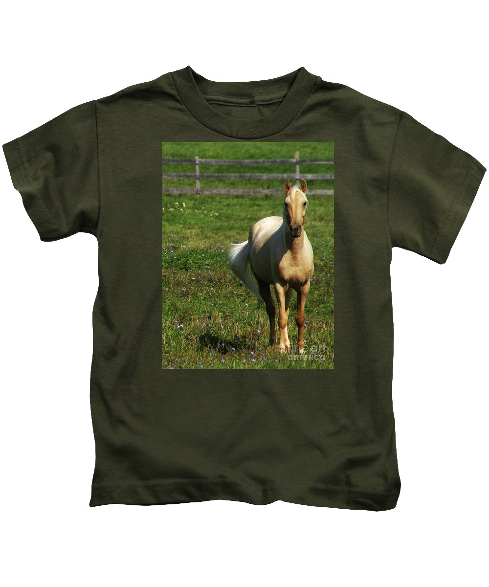 Horse Kids T-Shirt featuring the photograph Maggie - Michigans Morning Breeze by Linda Shafer
