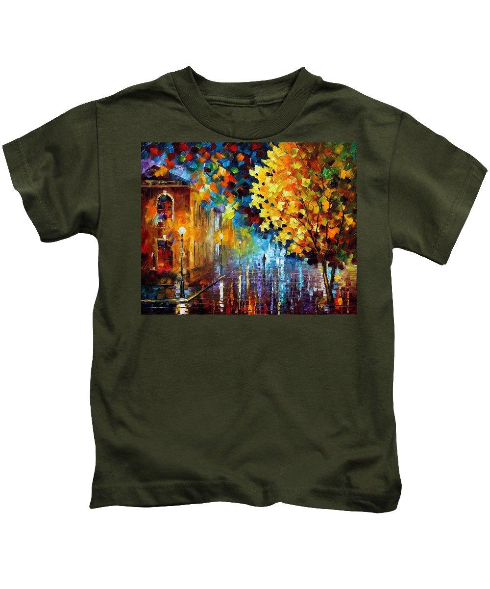 Afremov Kids T-Shirt featuring the painting Magic Rain by Leonid Afremov
