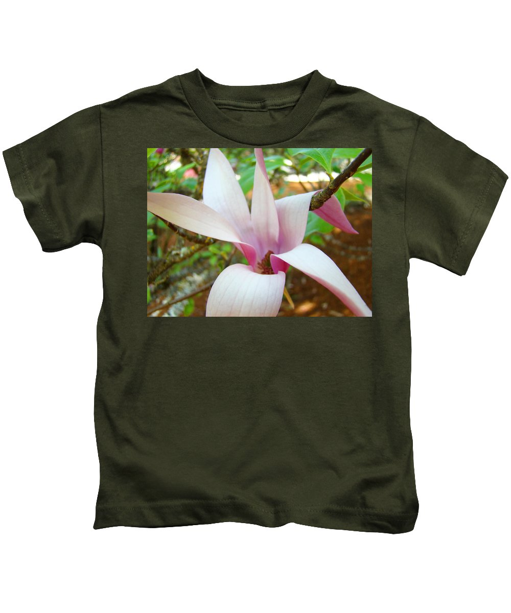 Magnolia Kids T-Shirt featuring the photograph Magnolia Flowering Tree Art Prints White Pink Magnolia Flower Baslee Troutman by Baslee Troutman