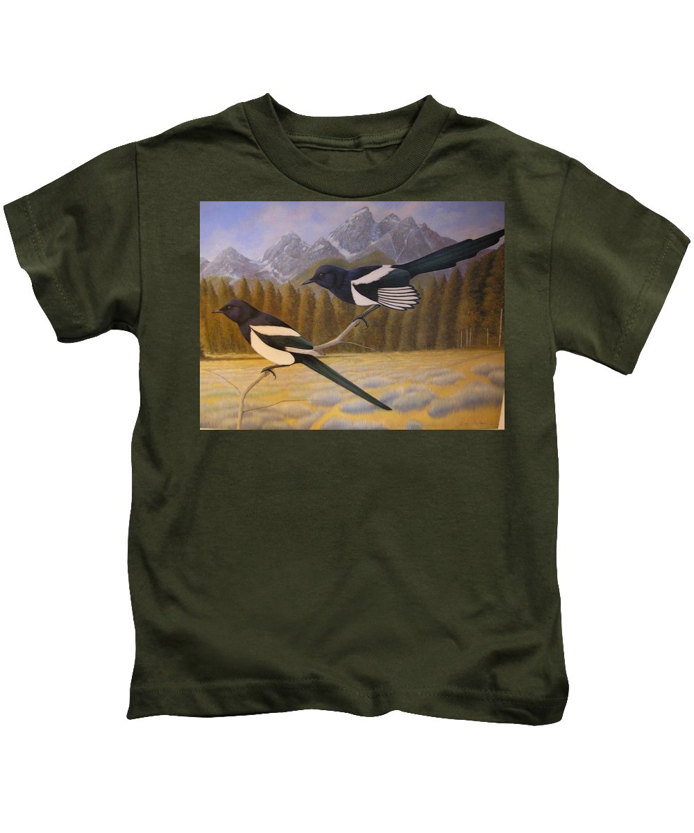 Magpies Kids T-Shirt featuring the painting Magpies by Alan Suliber