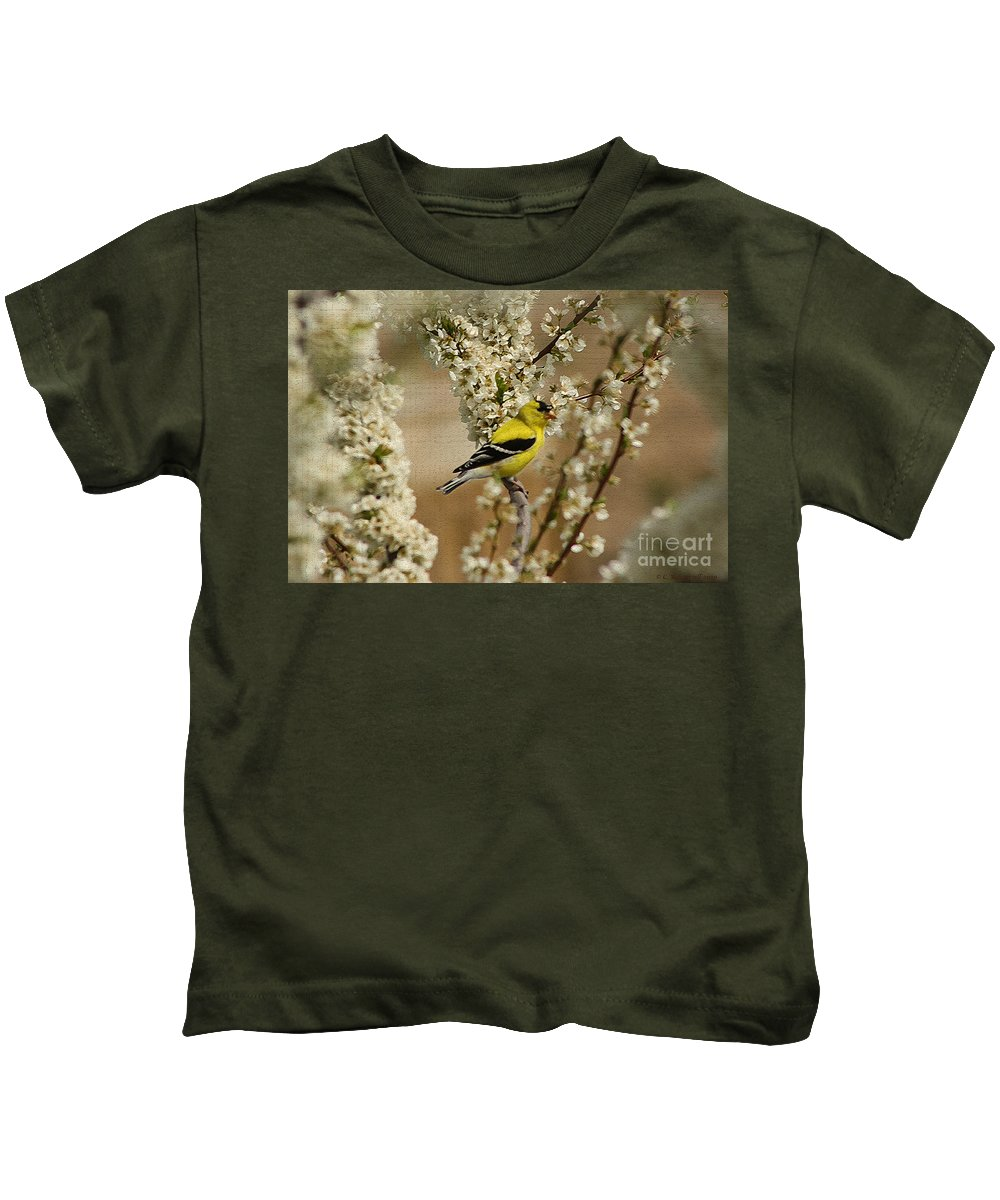 Finch Kids T-Shirt featuring the photograph Male Finch In Blossoms by Cathy Beharriell