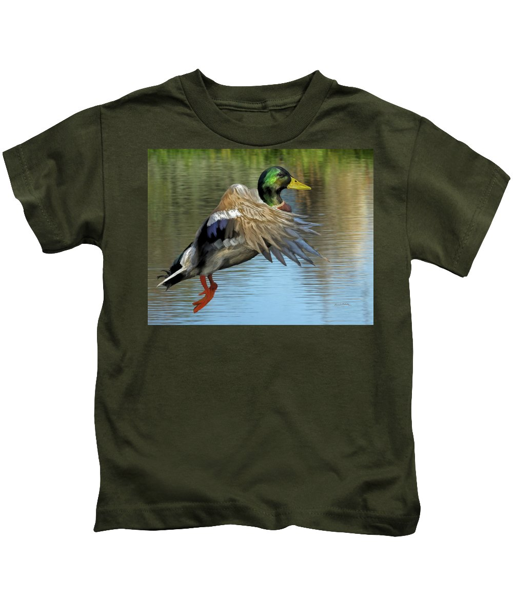 Animals Kids T-Shirt featuring the painting Mallard Digital Freehand Painting 3 by Ernie Echols