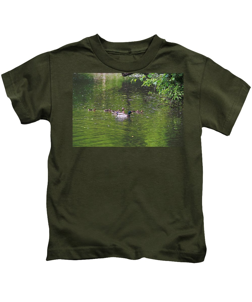 Mallad Kids T-Shirt featuring the photograph Mallard Family by Ericamaxine Price
