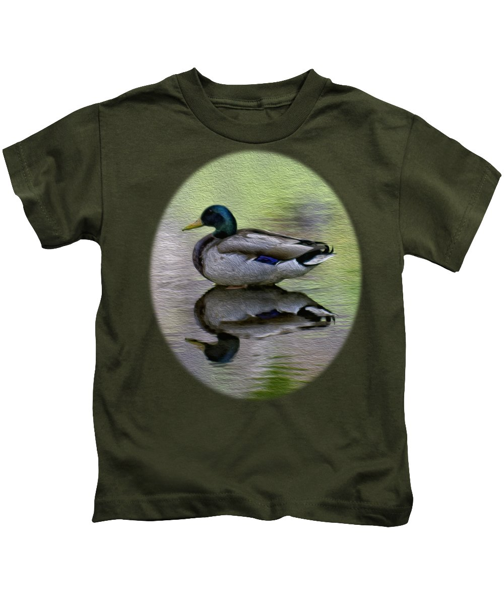 Myhaverphotography Kids T-Shirt featuring the photograph Mallard In Mountain Water by Mark Myhaver