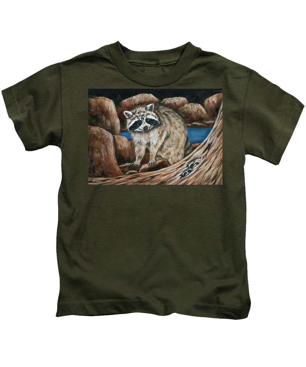 Racoon Kids T-Shirt featuring the painting Mama Racoon by Ruth Bares