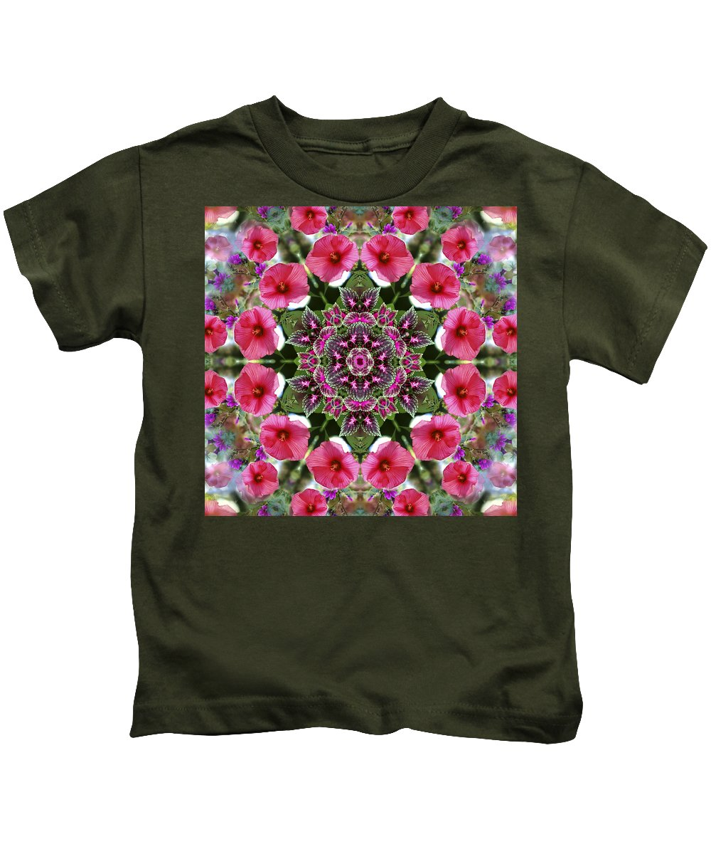 Mandala Kids T-Shirt featuring the digital art Mandala Pink Patron by Nancy Griswold