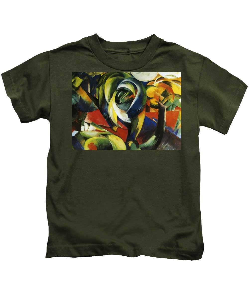 Mandrill Kids T-Shirt featuring the painting Mandrill 1913 by Marc Franz