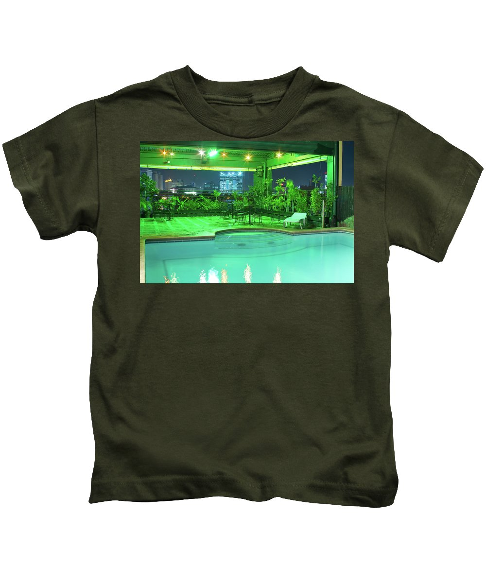 Insogna Kids T-Shirt featuring the photograph Mango Park Hotel Roof Top Pool by James BO Insogna