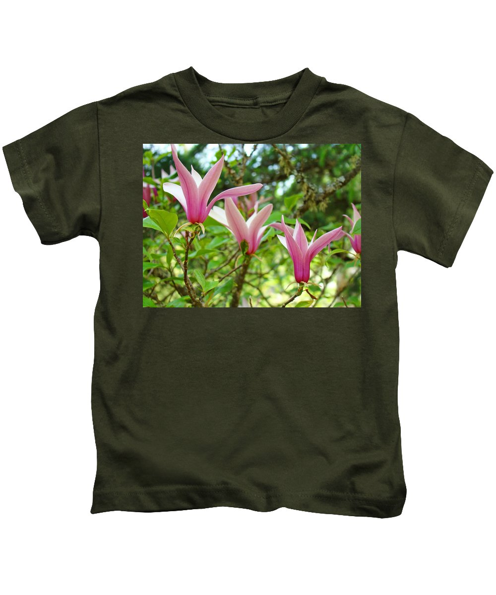Magnolia Kids T-Shirt featuring the photograph Mangolia Tree Flowers Art Prints Pink Magnolias Baslee Troutman by Baslee Troutman