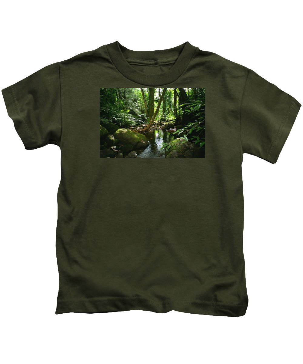 Green Kids T-Shirt featuring the photograph Manoa Valley Stream by Kevin Smith