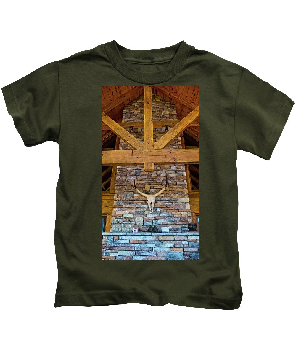 Mantle Kids T-Shirt featuring the photograph Mantle And Chimney by George Taylor