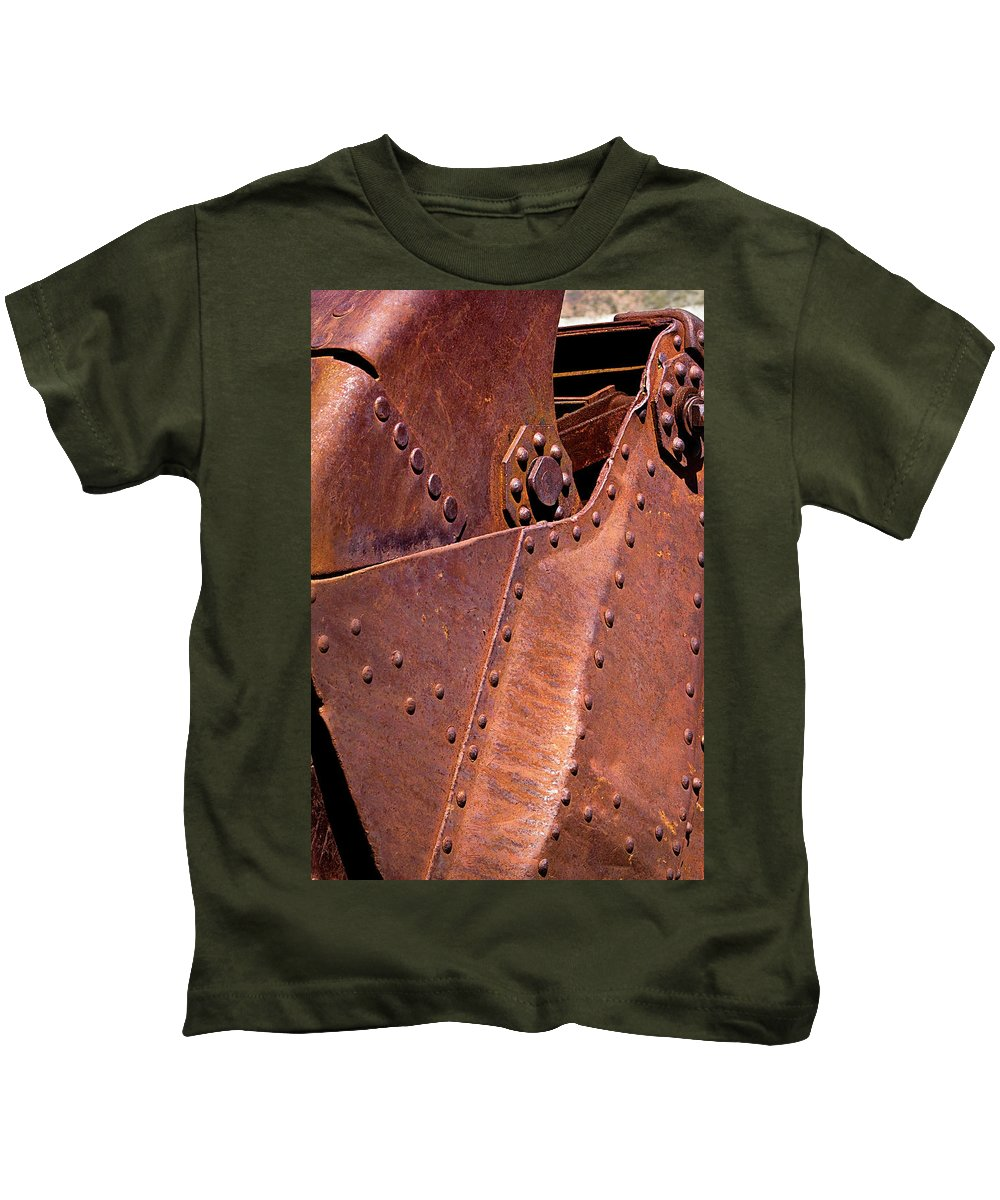 Rivets Kids T-Shirt featuring the photograph Many Rivets by Phyllis Denton