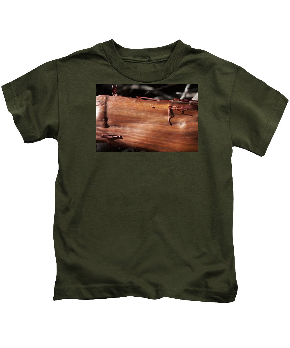 Manzanita Kids T-Shirt featuring the photograph Manzanita Trunk by Grant Groberg