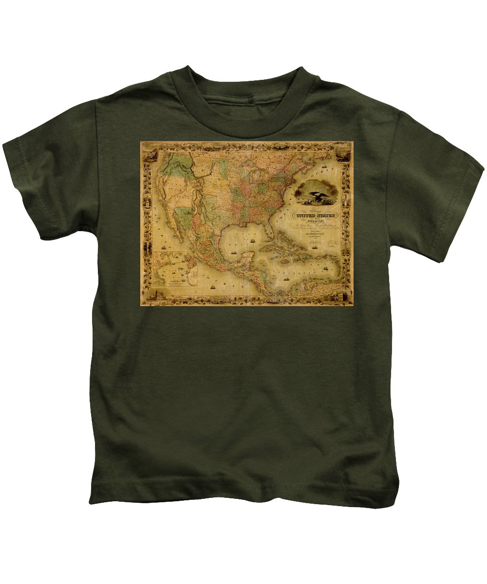 Map Of The United States Kids T-Shirt featuring the photograph Map Of The United States 1849 by Andrew Fare
