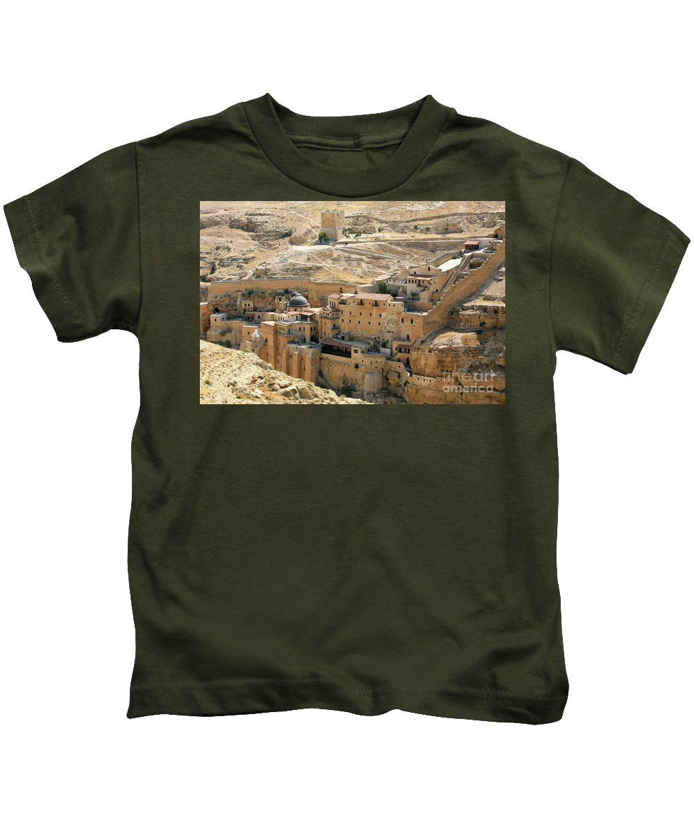St Sabas Kids T-Shirt featuring the photograph Mar Saba by Chen Leopold