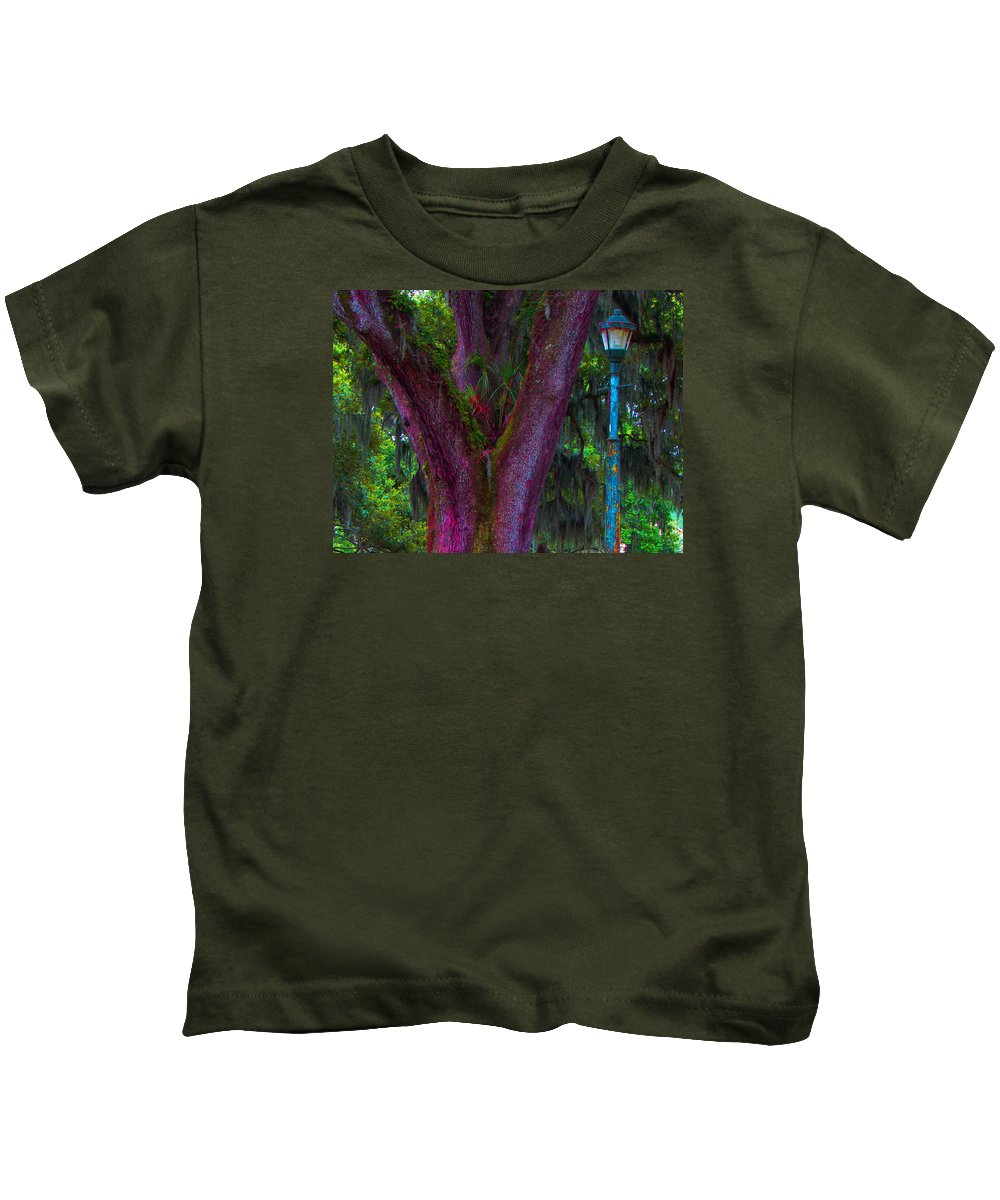 Orleans Kids T-Shirt featuring the photograph Mardi Gras Tree by Henry Eastman