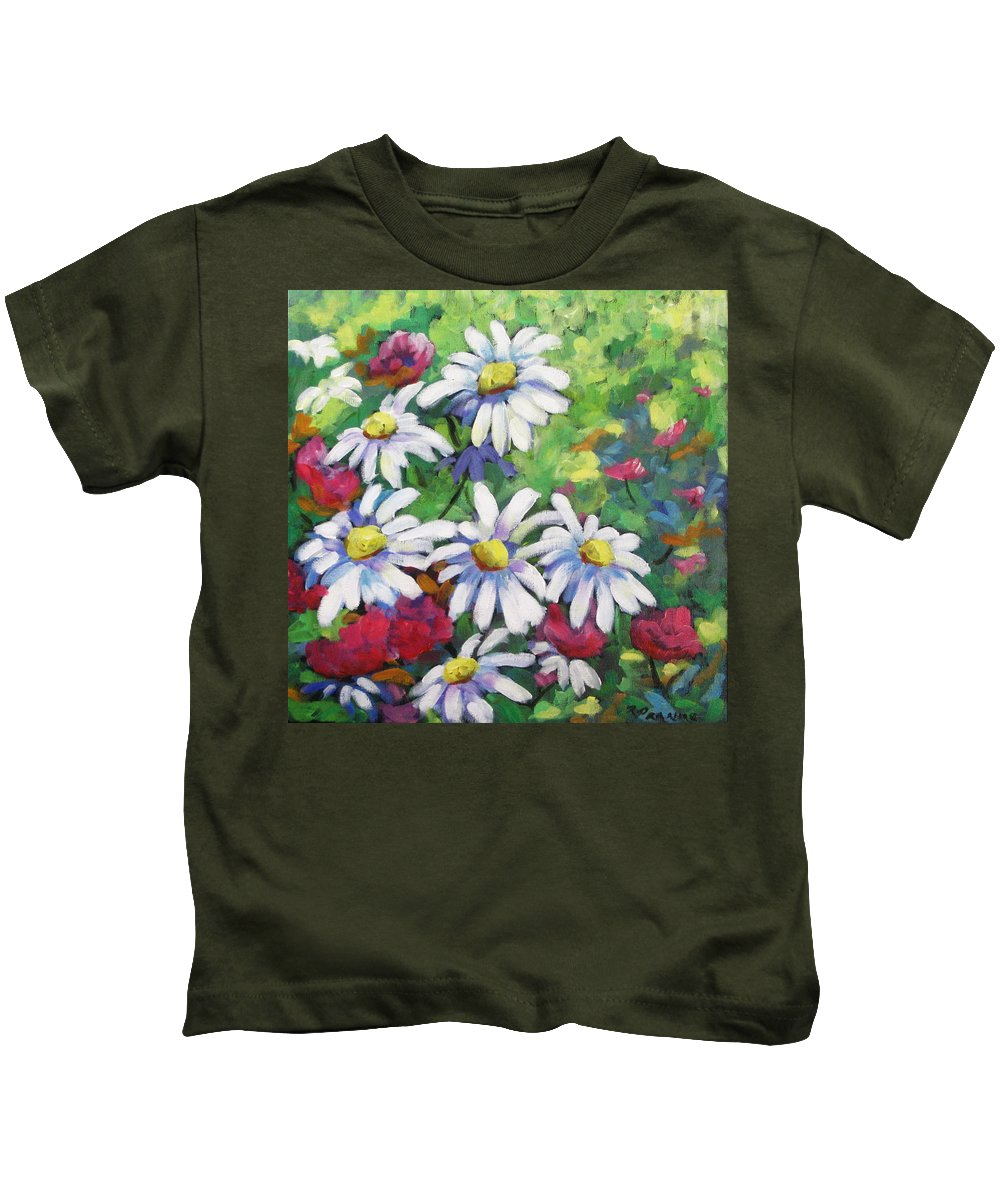 Fleurs Kids T-Shirt featuring the painting Marguerites 001 by Richard T Pranke