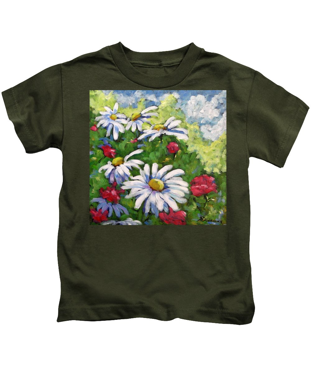 Daysy Kids T-Shirt featuring the painting Marguerites 002 by Richard T Pranke