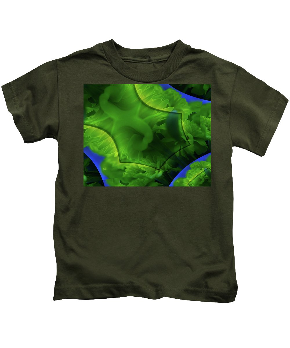 Abstract Kids T-Shirt featuring the photograph Marigolds In A Fractual Dream by Jeff Swan
