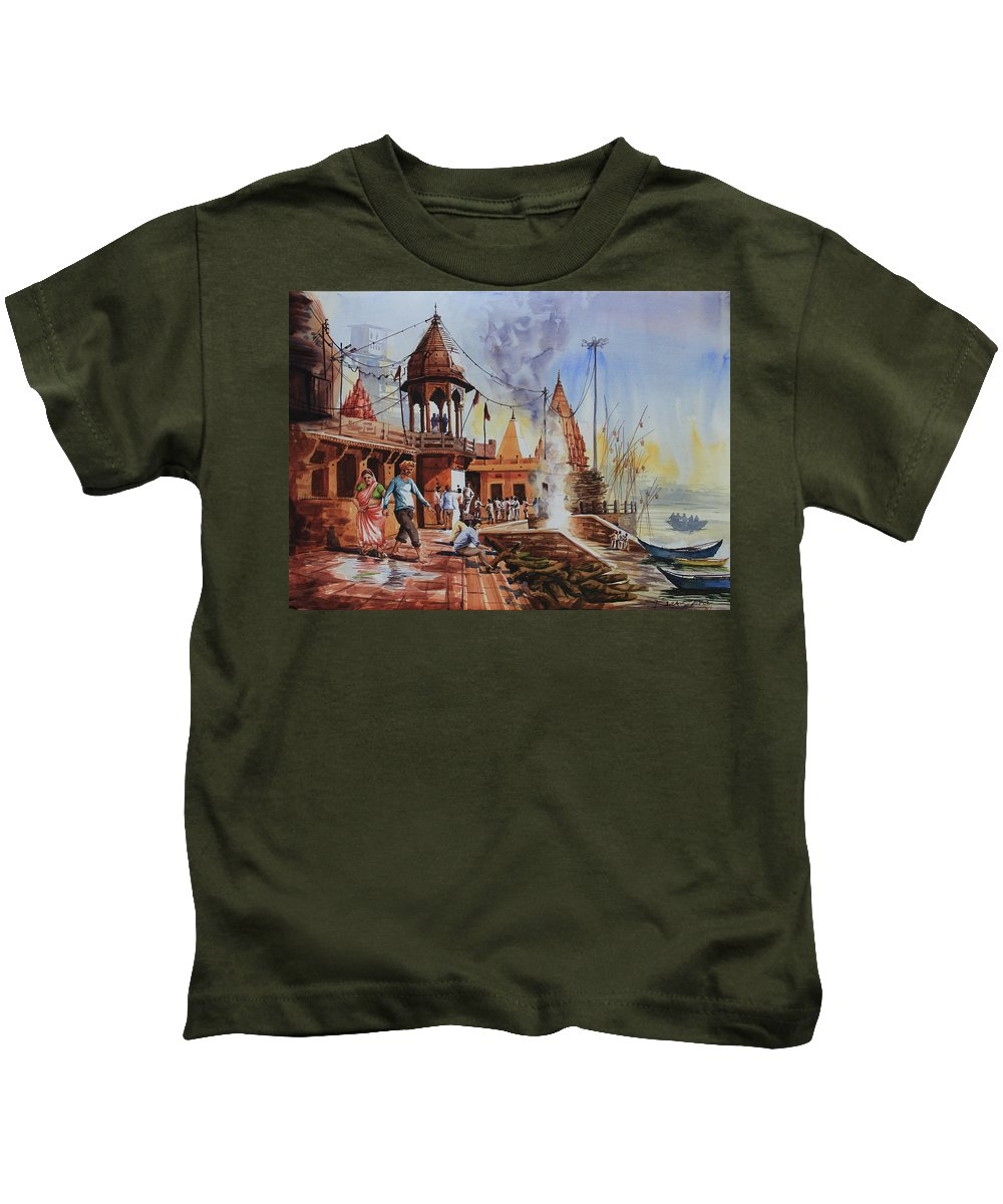 Landscape Kids T-Shirt featuring the painting Marikarnika Ghat Varanasi by Rohit Gupta