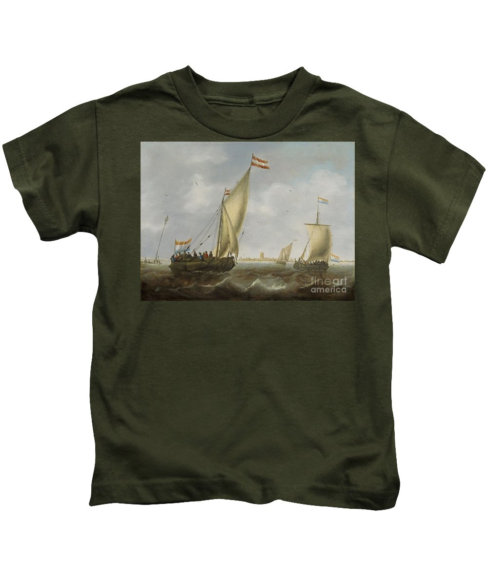 Jacob Adriaensz. Bellevois Kids T-Shirt featuring the painting Marine by MotionAge Designs
