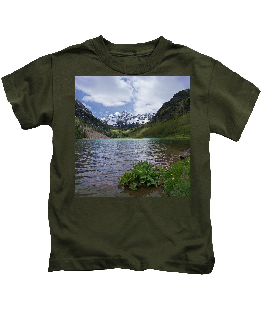 Aspen Kids T-Shirt featuring the photograph Maroon Bells Spring by Heather Coen