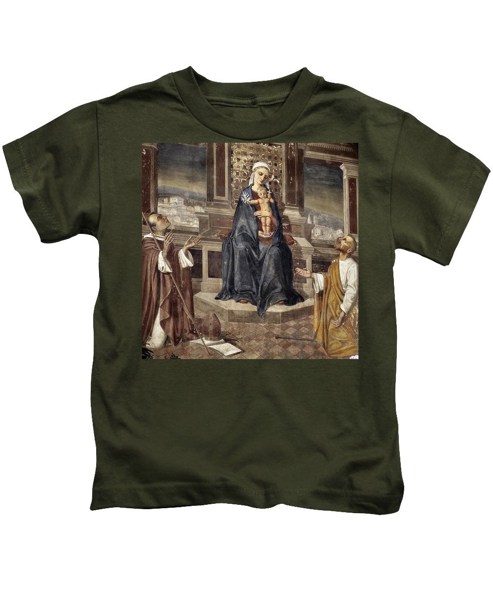 Italy Italian Mary Jesus Men Fresco Religious Religion Paint Painted Old Ancient Catholic Kids T-Shirt featuring the photograph Mary And Baby Jesus by Marilyn Hunt