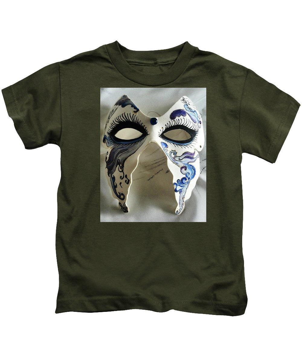 Mask Kids T-Shirt featuring the painting Mask by Sigita Smetonaite