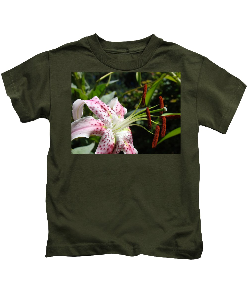 Lilies Kids T-Shirt featuring the photograph Master Gardeners Art Floral Pink Lily Flower Baslee Troutman by Baslee Troutman