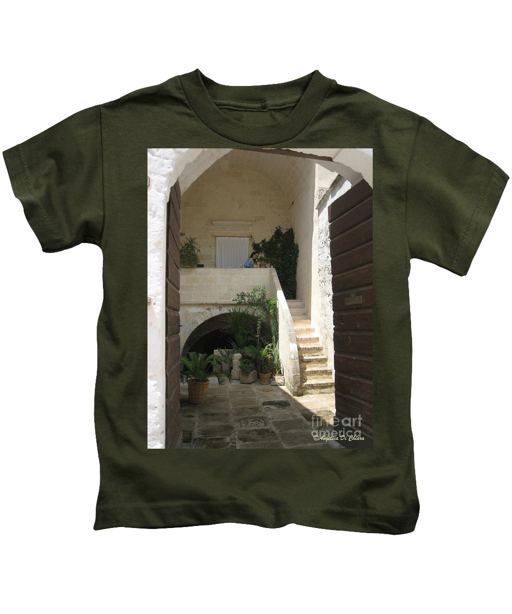 Cityscape Kids T-Shirt featuring the photograph Matera, Italian Courtyard by Italian Art