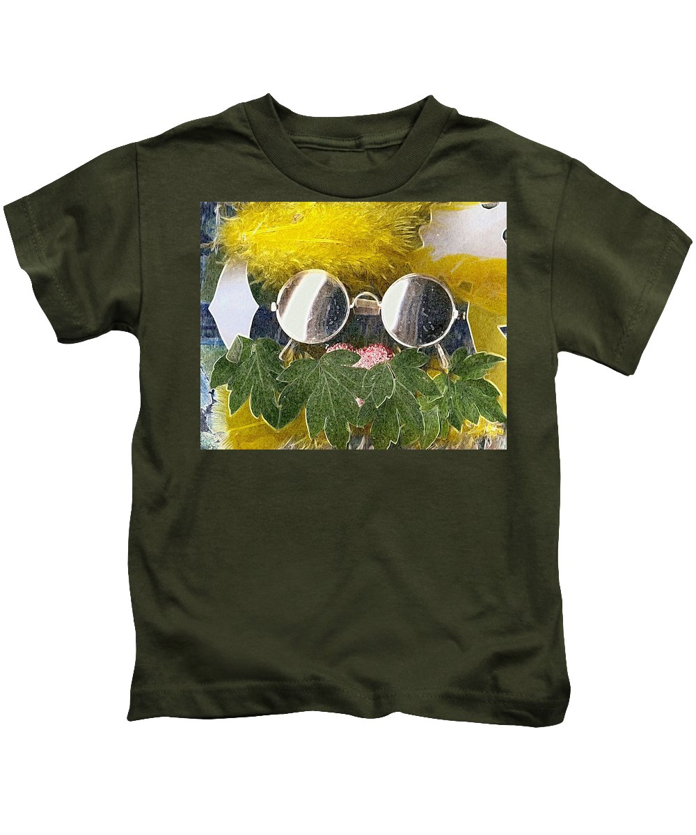 Acryl Kids T-Shirt featuring the mixed media Materials And Eyeglasses by Pepita Selles