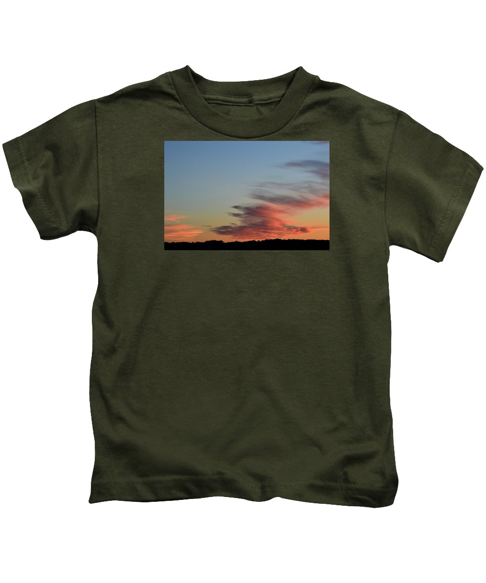 Abstract Kids T-Shirt featuring the photograph Mauve Clouds In A Blue Sky by Lyle Crump