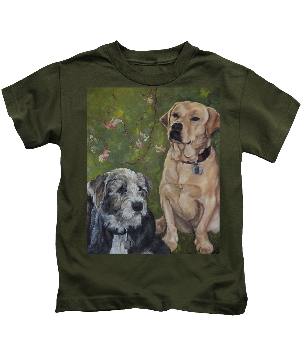 Dogs Kids T-Shirt featuring the painting Max And Molly by Stephanie Broker