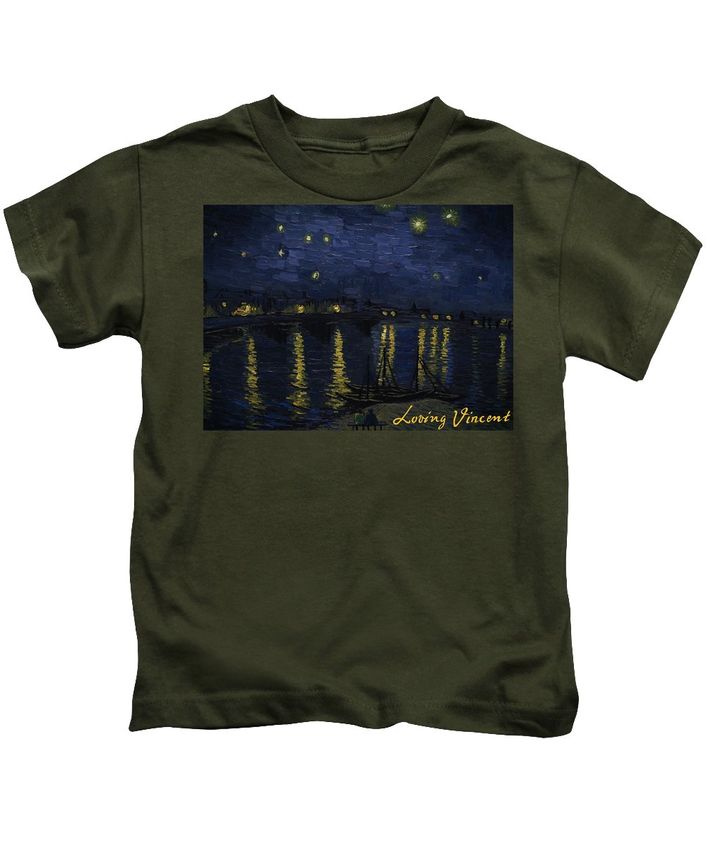 Kids T-Shirt featuring the painting Maybe We Can Take Death To Go To A Star? by Bartosz Armusiewicz