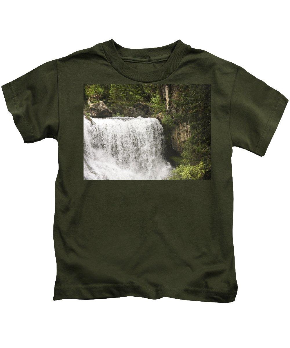 Waterfalls Kids T-Shirt featuring the photograph Mccloud Upper Falls by Karen W Meyer