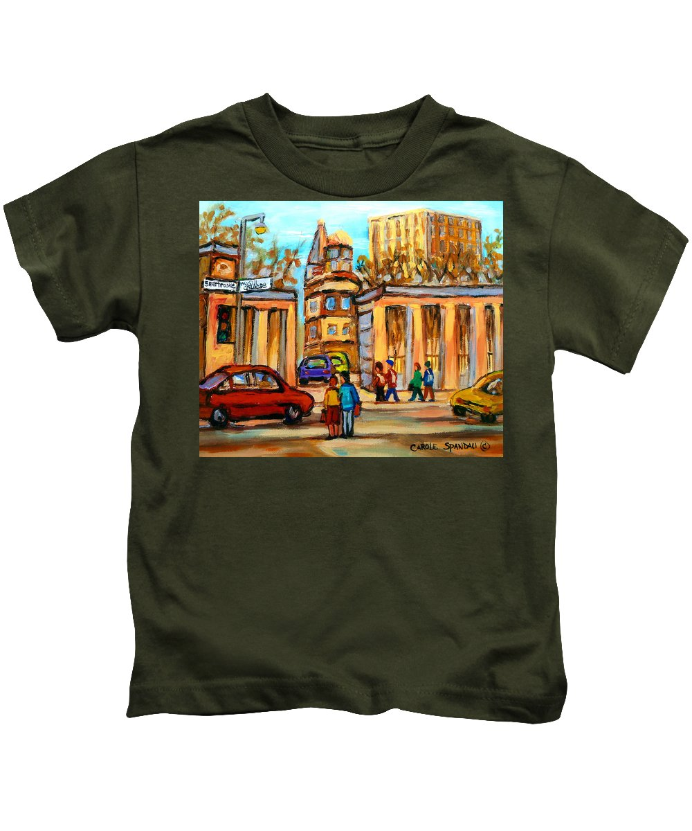Montreal Cityscapes Kids T-Shirt featuring the painting Mcgill Roddick Gates by Carole Spandau