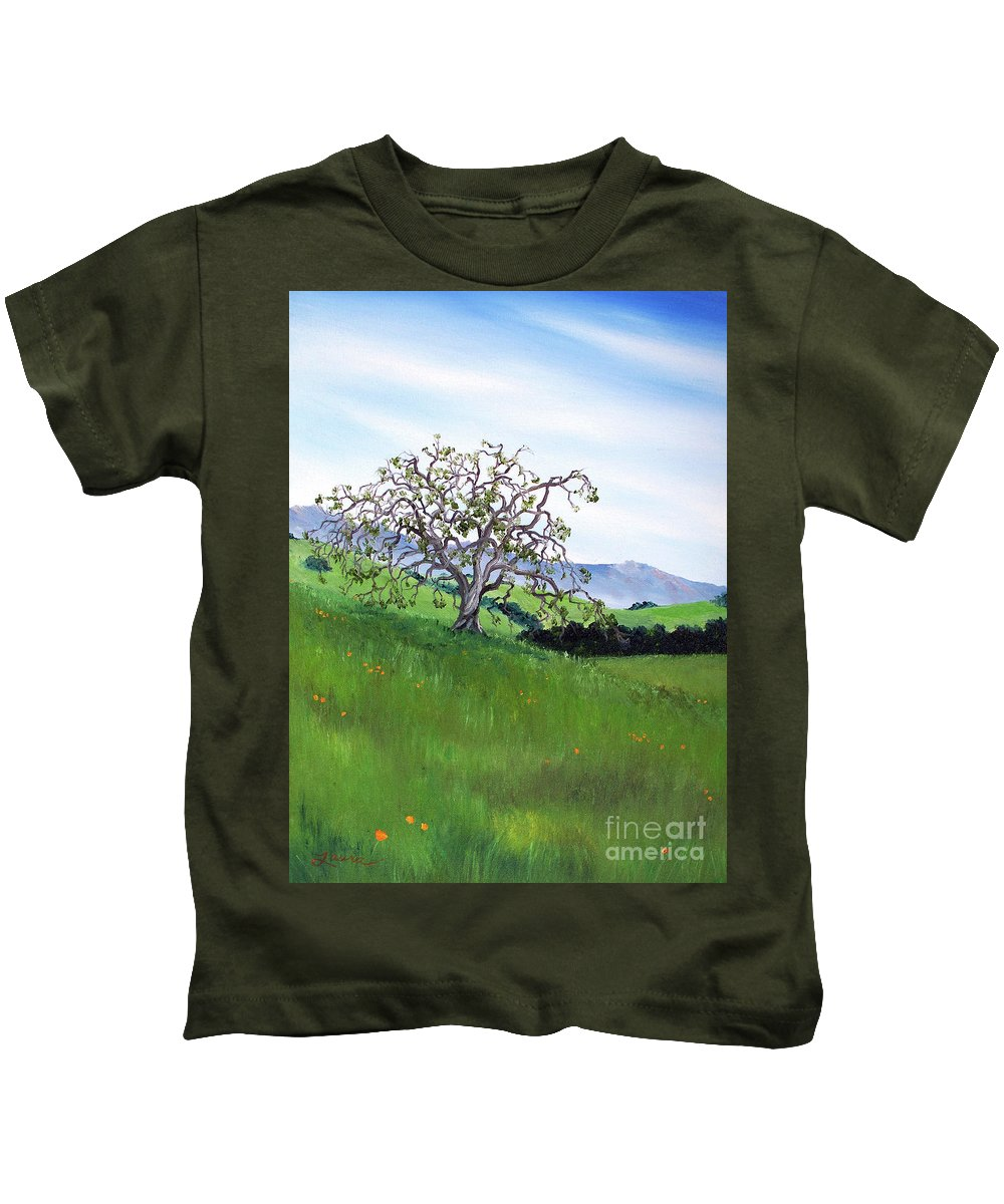 California Kids T-Shirt featuring the painting Meadow In Early March by Laura Iverson