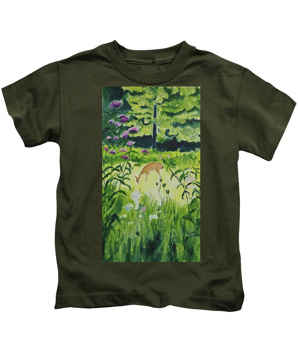 Deer Kids T-Shirt featuring the painting Meadow Surprise by Diane Carder