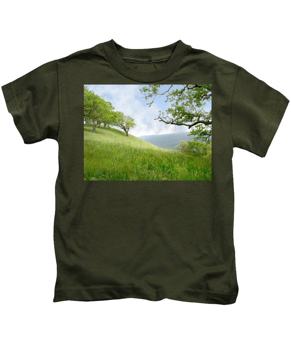 Landscape Kids T-Shirt featuring the photograph Meadow View Spring by Karen W Meyer