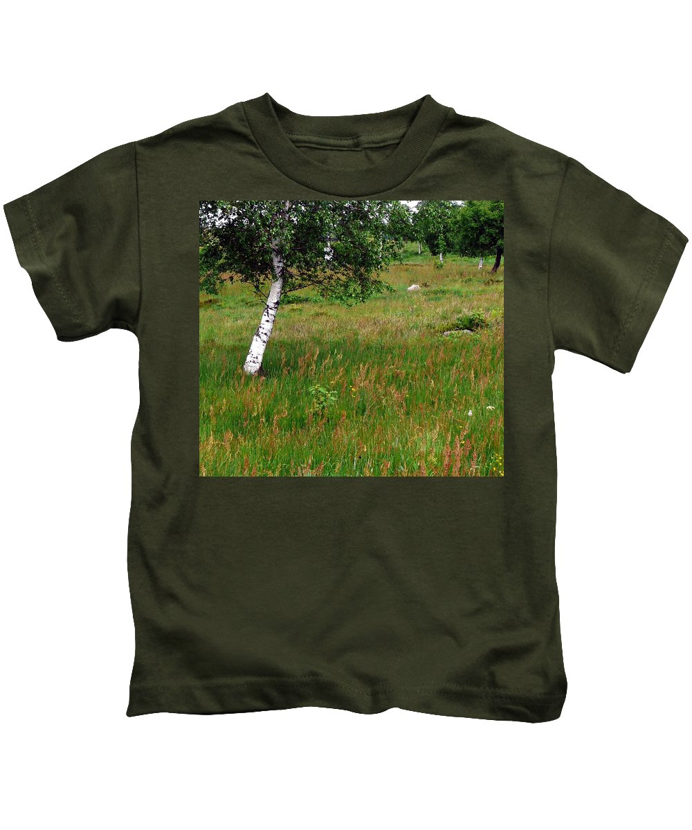 Landscape Kids T-Shirt featuring the photograph Meadow With Birch Trees by Valerie Ornstein