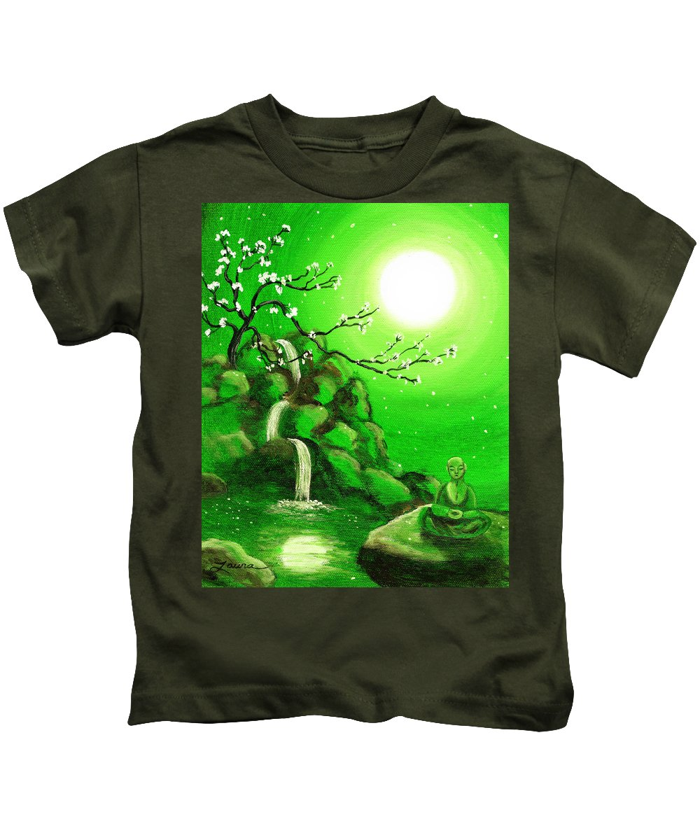 Landscape Kids T-Shirt featuring the painting Meditating While Cherry Blossoms Fall In Green by Laura Iverson