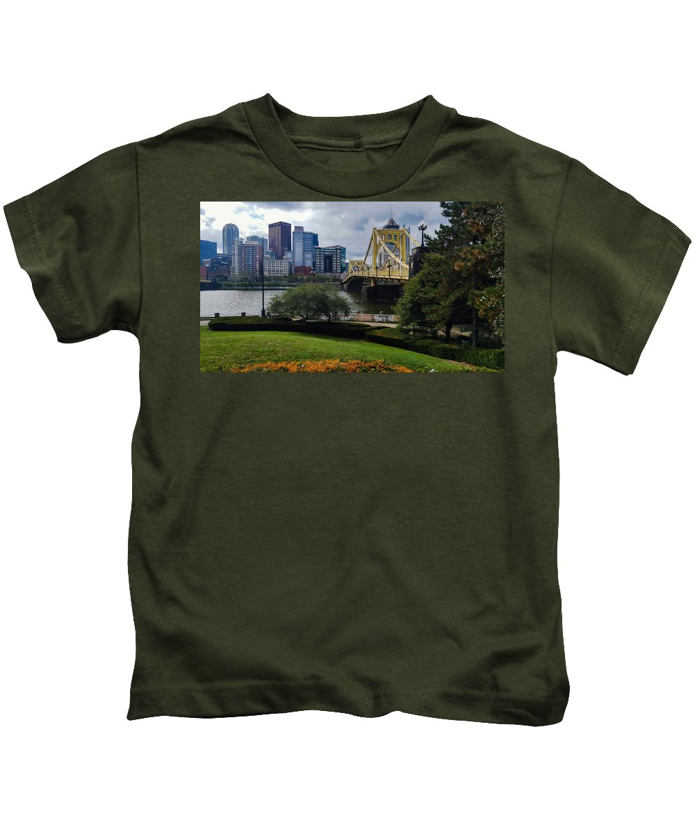 Pittsburgh Kids T-Shirt featuring the photograph Meet Me At The Clemente Bridge by Shelley Smith