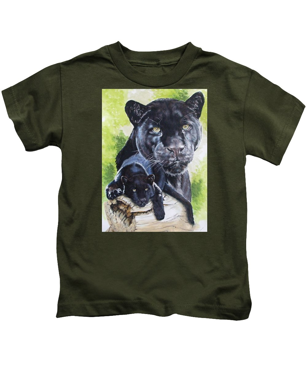 Big Cat Kids T-Shirt featuring the mixed media Melancholy by Barbara Keith