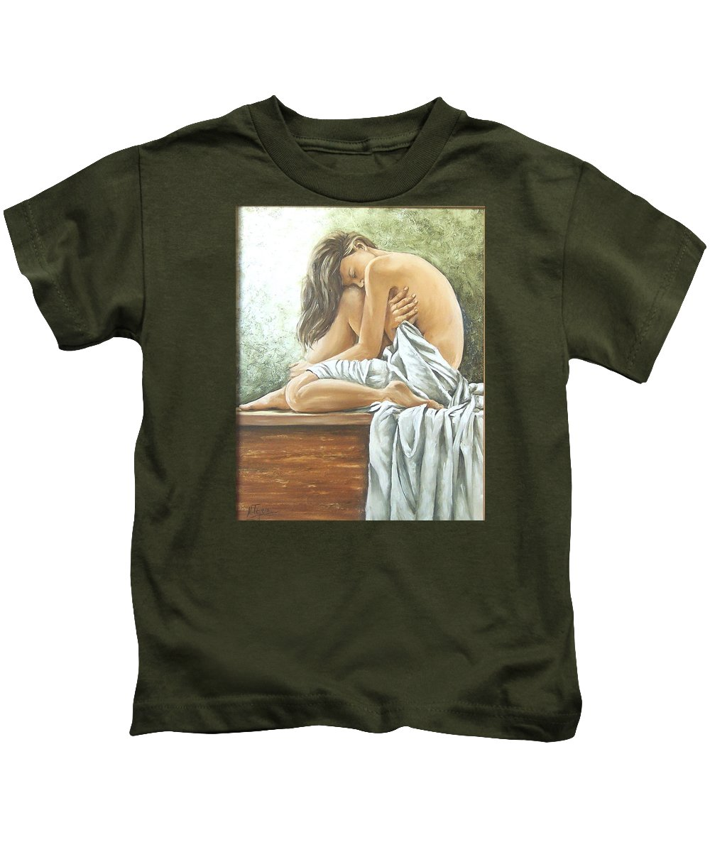 Gir Kids T-Shirt featuring the painting Melancholy by Natalia Tejera