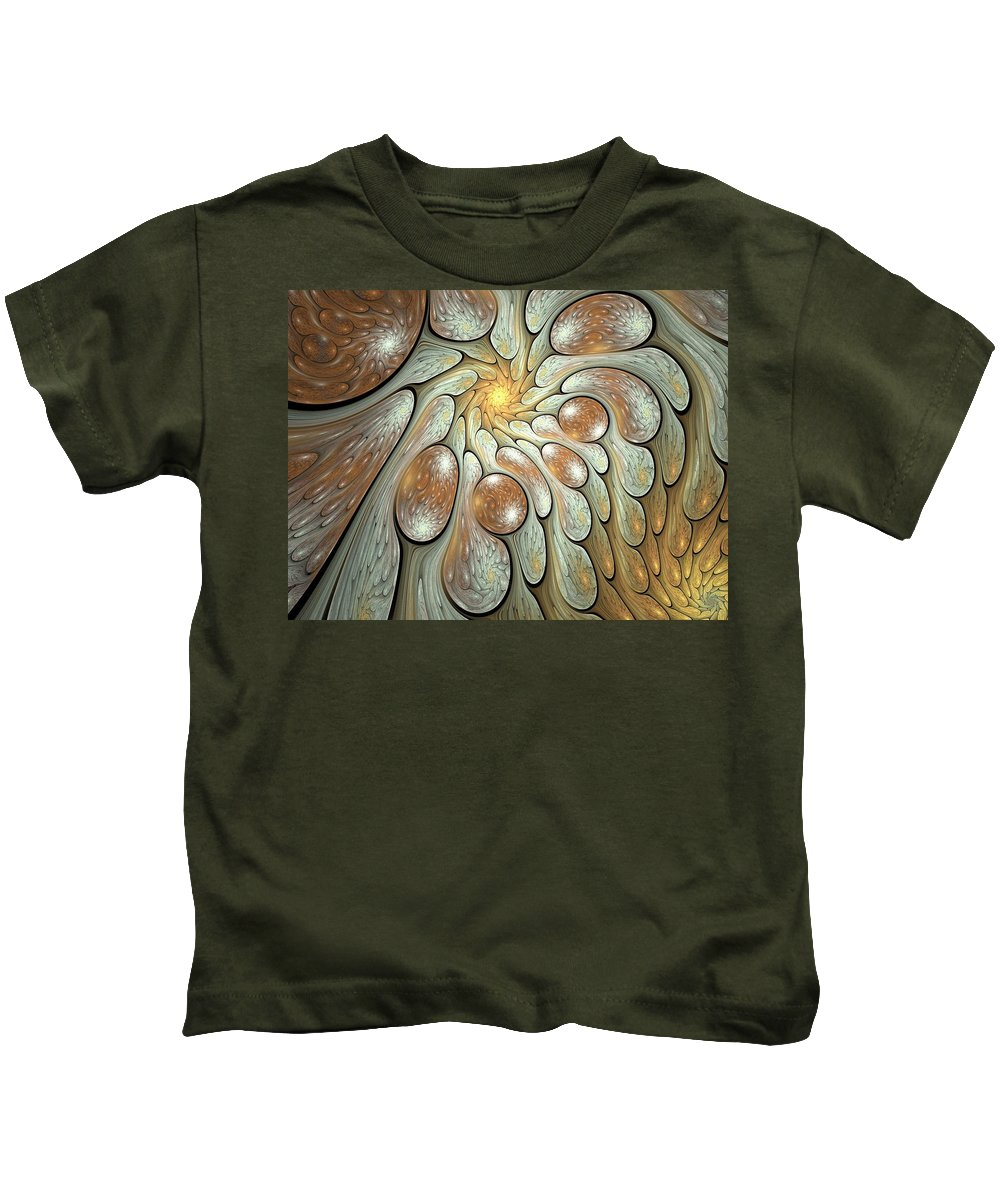 Fractal Kids T-Shirt featuring the digital art Melting Motions by Amorina Ashton